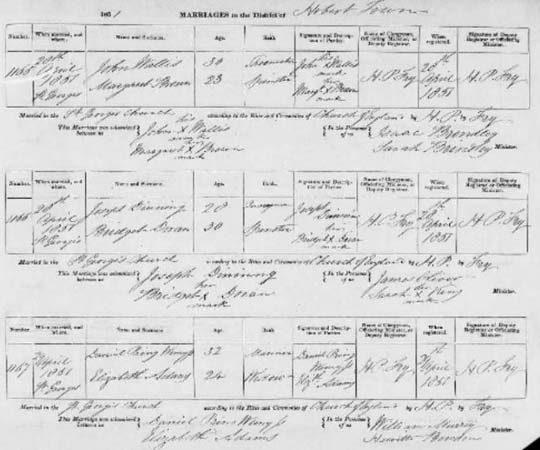 Tasmania 1851 marriage record
